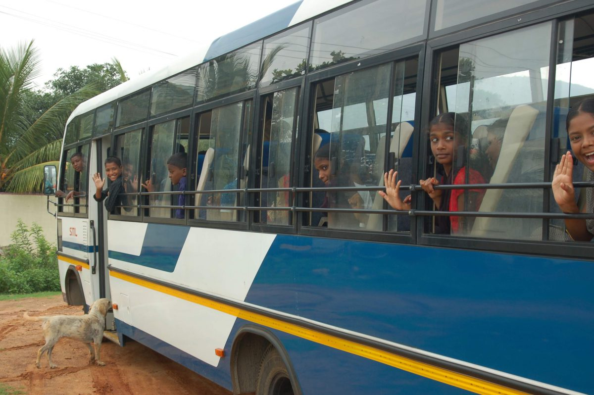 A bus on the campus of the Children of faith Home in India