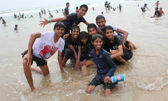 Children of Faith boys on a field trip to the beach