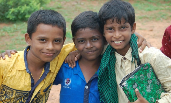 a group of boys from the Children of Faith home