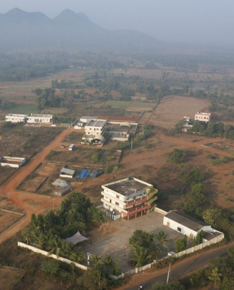Ariel view of dormitories and play area at Children's Home in India